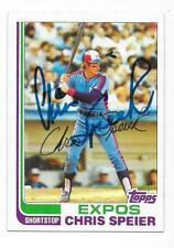 CHRIS SPEIER 1982 TOPPS AUTOGRAPHED SIGNED # 198 EXPOS
