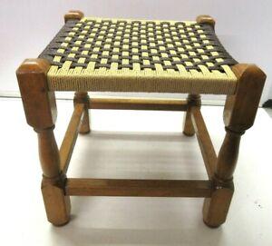 Retro Vintage Rustic Woven Rope Weave weaved Footstool Stool very bright
