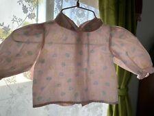 Vintage 60s 70s Pink Infant Baby Shirt Peter Pan Collar Sheep Birds 3-6 Months @