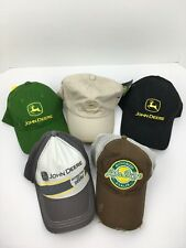 Lot Of 5 John Deere Logo Cap Hats Green Brown Tan Black Grey Some With Tags