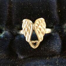 Sterling Angel Wings & Heart Ring