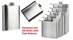 ⭐HIP FLASK Stainless Steel Pocket Drink Whisky Alcohol Flasks Gift Steel UK POST