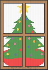 Crochet Patterns - CHRISTMAS TREE IN WINDOW pattern