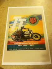 Vintage AJS Isle Of Man TT Motorcycle Poster Home Decor Man Cave Art