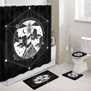 Six-pointed Star Mandala Shower Curtain Toilet Cover Rug Bath Mat Contour Rug