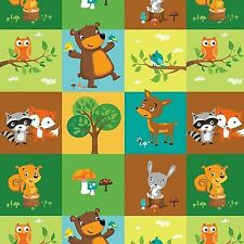 Fabric Baby Woodland Animals Patchwork Squares Blocks on Flannel by 1/4 yard