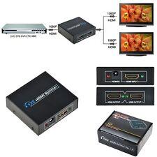 Full HD 1x2 Port HDMI Splitter Amplifier 1 to 2 3D 1080p Female Switch Box Hub