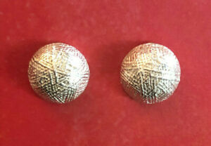 """Sterling Silver Earrings Button Stud Ball Textured Yarn 11.8mm .5"""" 4g 925 #1873"""