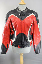 CORNER BLACK, RED & WHITE LEATHER BIKER JACKET WITH REMOVABLE CE ARMOUR 42 INCH