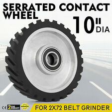 "10"" Serrated Contact Rubber Wheel for Belt Grinder Sander, Dynamically balanced"