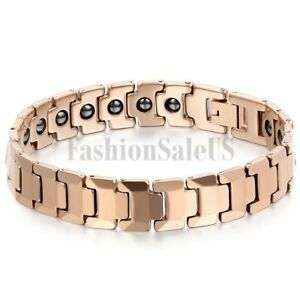Men's Rose Gold Tone Tungsten Carbide Magnetic Health Energy Bracelet Link Chain