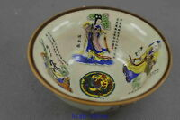 Collection Handwork Decor Porcelain Paint Ancient 8 Immortal Exorcism Lucky Bowl
