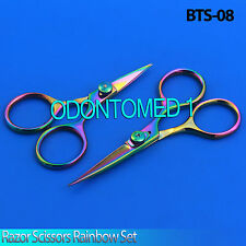"Razor scissors 4"" & 5"" set Rainbow plasma coating super sharp blades fly,BTS-08"