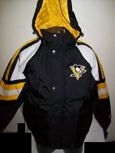 PITTSBURGH PENGUINS STARTER PRO LINE Hooded Winter Jacket  S M L XL 2X BLACK/YEL