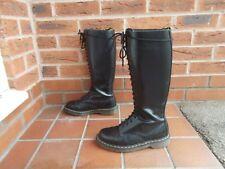 Dr Martens Cuero Negro Botas Con Cordones Altura Hasta la Rodilla * s6 Reino Unido * 39 de la UE * 20 Agujero Alta!