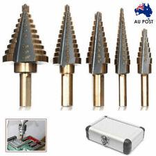 5PCS HSS Step Steel Cone Drill Titanium Bits Kit Set Hole Cutter + Aluminum Case