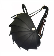 Pangolin Armadillo Leather Backpack Handbag Travel Casual Bag Unisex Black Large