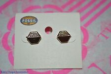 Fossil Brand Geo Shape Rose Gold-tone Pave Crystal Fashion Stud Earrings NWT $38