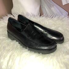 VANELI Womens Black Leather Lightweight Slip On Loafers Vibram Sole Sz 8.5S