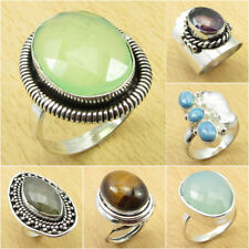 Natural LABRADORITE & Other Gemstone Ring, 925 Silver Plated FASHION Jewelry