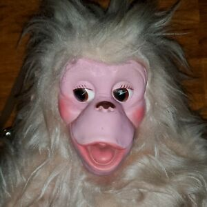 """Vintage GUND Zippys GF RARE White Long Haired Monkey With Pink Rubber Face 16"""""""