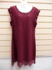 VILA DRESS MAROON SIZE XL -16  LACE DETAIL  BNWT  (A002