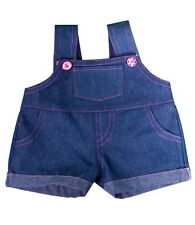 """Teddy Denim Dungaree With Pink Stitching, fits 16"""" teddy mountain & Build a Bear"""