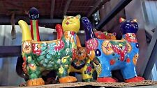 TALAVERA MEXICAN POTTERY -  TALL STANDING CAT PLANTER (assorted colors)
