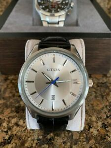 Pristine Men's Citizen's Silver Dress Watch with Genuine Leather Black Band