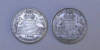 1946 & 1947 KGVI AUSTRALIA FLORINS (50% SILVER) - TWO GREAT VINTAGE COIN (HJ186)