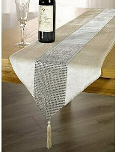 OZXCHIXU TM 13inch x 72inch Table Runner with Diamante Strip and Tassels Beige