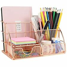 Leoriso Desk Organizer Supplies Rose Gold Office With Mail Organizer Pen Paper