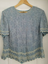 Vintage Women's David's Bridal Grey-Blue Silk Beaded Embroidery Blouse size 14W