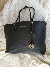 Michael Kors Big Jet Set Black Saffiano Leather Carryall Tote Shoulder Hand Bag