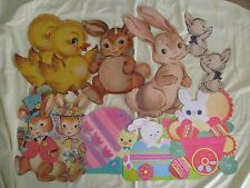 Vintage Lot of 10 Easter Holiday Die Cut Wall Decorations