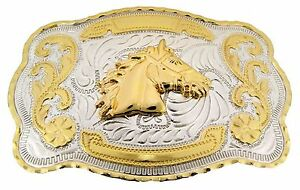 Horse Head Belt Buckle Gold Silver Two-Tone Western Rodeo Fashion Accessory New