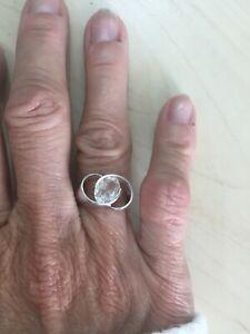 Vintage Antique Sterling Silver 925 Modern Design Pale Aquamarine Ring - Size 8