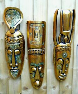 Wooden Tribal Jungle Mask 50 cm New Wall Decor Gold Colour Variants of Design