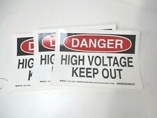 Brady 118185 7 X 10 High Voltage Electrical Keep Out Vinyl Sign Lot Of 3