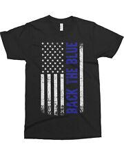 Back the Blue American Flag Men's T-Shirt Blue Line Police