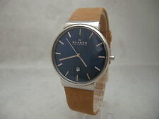 Authentic Skagen Ancher SKW6103 Genuine Leather Tan Bracelet Men's Watch