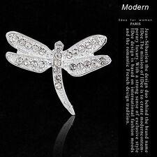 Bridal Bouquet Rhinestone Crystal Brooch Pin Silver Dragonfly Christmas Jewelry