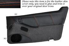 ORANGE STITCH 2X DOOR CARDS LEATHER SKIN COVERS FITS NISSAN 300ZX Z32 90-96