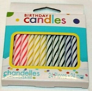 American Greetings  Multicolor  Striped  Birthday Candles   24 pcs