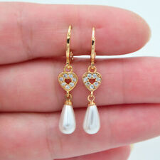 18K Yellow Gold Filled Clear Topaz White Teardrop Pearl Love Hearts Earrings