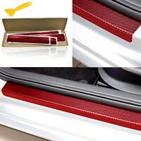 4PCS 3D Carbon Fiber Red Car Plate Door Sill Scuff Stickers Anti-kick Scratch