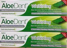 3x Optima AloeDent  Whitening Aloe Vera Fluoride Free Toothpaste 100ml