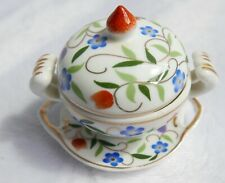 Soupière / légumier miniature en porcelaine—Décor floral multicolore—H 6 cm