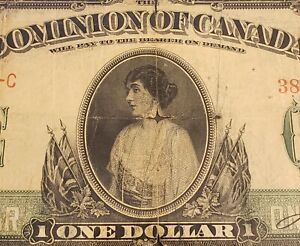 1917 Canada $1. Boville Signed. No Seal & Series C.
