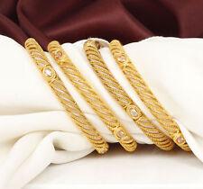 Ethnic 4PC Gold Plated Indian Traditional Kada Jewelry Bangles Bracelets Set